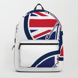 British Pressure Washing Union Jack Flag Circle Retro Backpack
