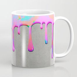 Pink Dripping Paint on Grey Coffee Mug