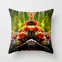 mushrooms Throw Pillows featuring mushrooms by haroulita