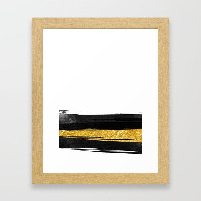 Gold and Black Stripes Framed Art Print