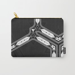Abstract  Black and White Multi Pattern Carry-All Pouch