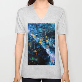 City At Night Cool Abstract Unisex V-Neck