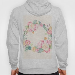 Spring Bouquet Wreath Seashell Floral Print Hoody