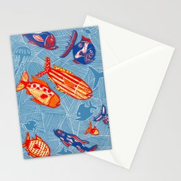 Ocean and Fish - Linocut Stationery Cards