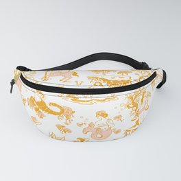 Astrology-Inspired Zodiac Gold Toile Pattern Fanny Pack