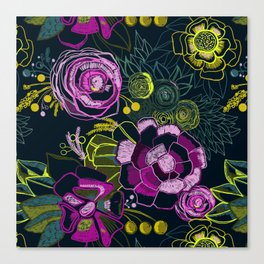 Embroidered Florals Canvas Print