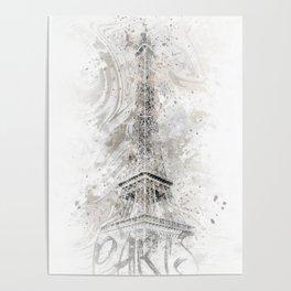 Modern Art EIFFEL TOWER | watercolor gold Poster