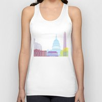 washington dc Tank Tops featuring Washington DC skyline pop by Paulrommer