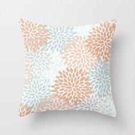 Winter, Abstract, Floral Prints, Aqua, Coral, Gray Throw Pillow