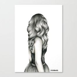 Black & White Pencil Sketch - Wavy Hair Girl Canvas Print