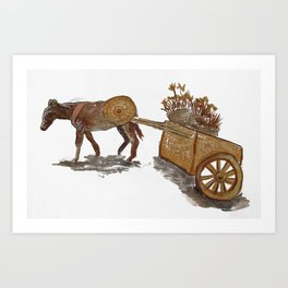 Donkey Cart Art Print