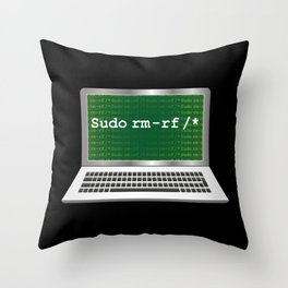 Sudo rm | Linux Coding Terminal Throw Pillow
