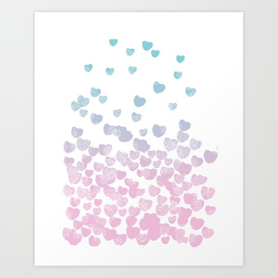 Hearts falling ombre blue and pastel pink cotton candy wonderland Art Print