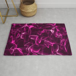 Cosmic luminous pink cobwebs of light lines and smoke in shine. Rug