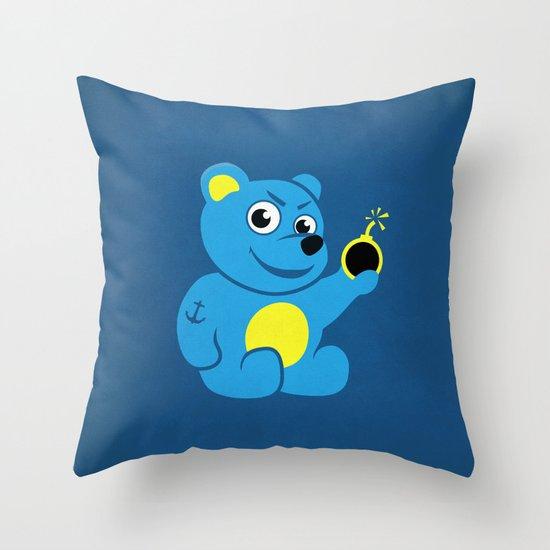 Evil Tattooed Teddy Bear Throw Pillow