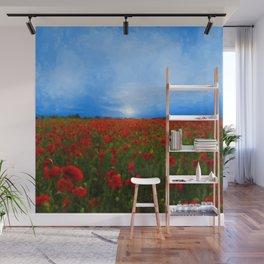 Poppy Field Sunset Wall Mural