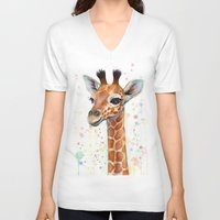nursery V-neck T-shirts featuring Giraffe Baby by Olechka