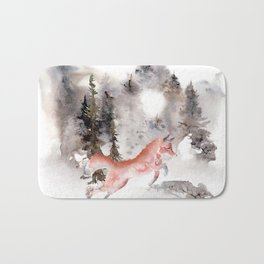 Fox Gamboling In The Mountain Mist Bath Mat