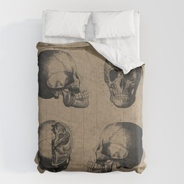Skull View - Antique Vintage Style Medical Etching Comforters