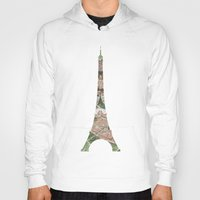 paris map Hoodies featuring Paris Map by Paula Belle Flores