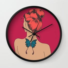Girl with a Butterfly Tattoo Wall Clock