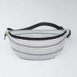 Pantone Lilac Gray & White Thick and Thin Horizontal Lines Bold Stripe Pattern Fanny Pack