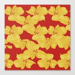 Yellow Lilies on Red Canvas Print