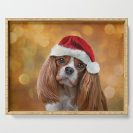 Drawing Dog breed Cavalier King Charles Spaniel  in red hat of Santa Claus Serving Tray