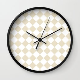 Diamonds - White and Pearl Brown Wall Clock