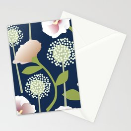 Snowballs and Pink Flowers Stationery Cards