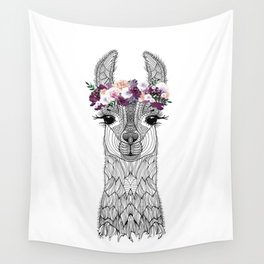FLOWER GIRL ALPACA Wall Tapestry
