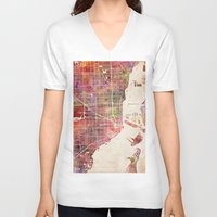 hotline miami V-neck T-shirts featuring Miami by MapMapMaps.Watercolors
