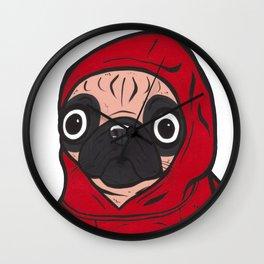 Red Hoodie Pug Wall Clock