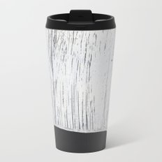 Scratched White Plaster and Charcoal Grey Lined Pattern Metal Travel Mug