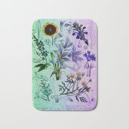 Botanical Study #2, Vintage Botanical Illustration Collage Art Bath Mat