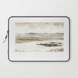 Old etching of landscape of river and field stream town and clouds Print Laptop Sleeve