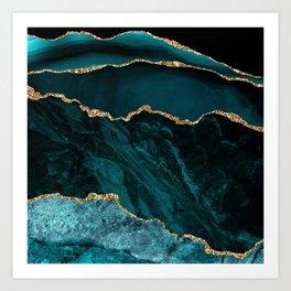 Teal Blue Emerald Marble Landscapes Art Print