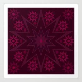 Mulberry Wine Star Flower Art Print