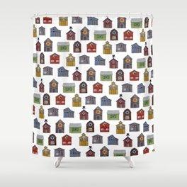 Barn Quilt Illustration Shower Curtain