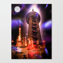 Full moon - Moments Shanghai Oriental Pearl Tower Canvas Print