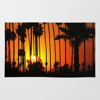 striped Area & Throw Rugs featuring Striped Sunset by Flattering Images