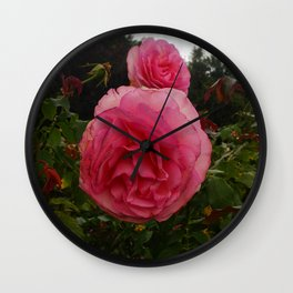 Round Pink Rose Wall Clock