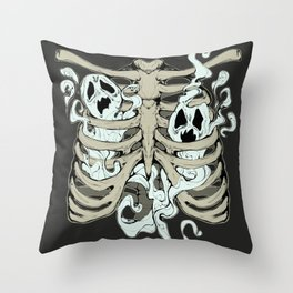 Ribcage Ghosts Throw Pillow