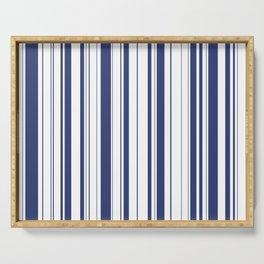 Minimalist Era - White & Indigo Blue Stripe Asymmetrical Serving Tray