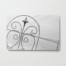 Garden Fence in the Snow Metal Print