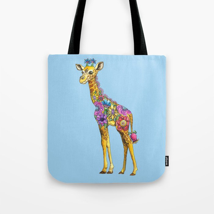 Geraldine the Geniunely Nice Giraffe Blue Tote Bag