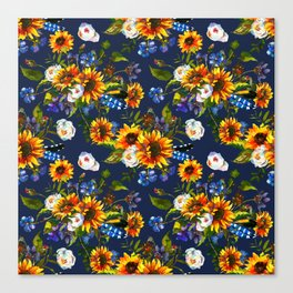 Modern yellow orange blue watercolor sunflower floral pattern Canvas Print