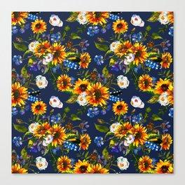 Modern yellow orange blue watercolor sunflower floral pattern Canvas Print