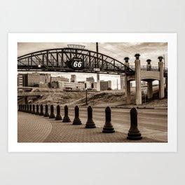 Tulsa Oklahoma Historic Route 66 Bridge - Sepia Edition Art Print