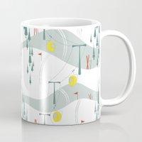 ski Mugs featuring Retro Ski by Julie's Fabrics & Thingummies
